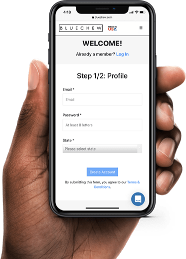 mobile version create a profil bluechew